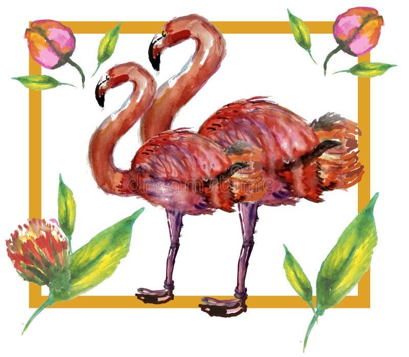 Petite princesse mignonne Abstract Background avec l'illustration rose de flamant illustration libre de droits