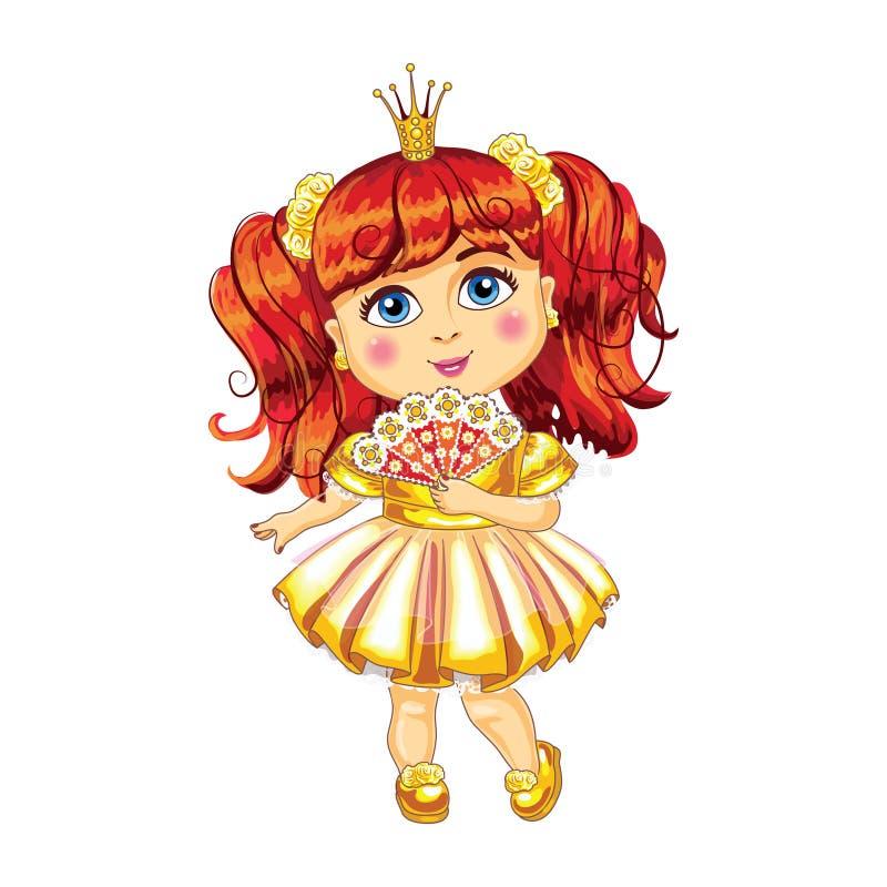 Petite princesse mignonne dans un vecteur jaune de robe illustration libre de droits