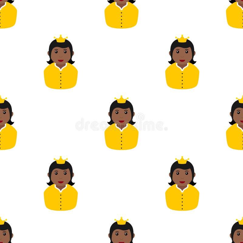 Petite princesse noire Icon Seamless Pattern illustration libre de droits