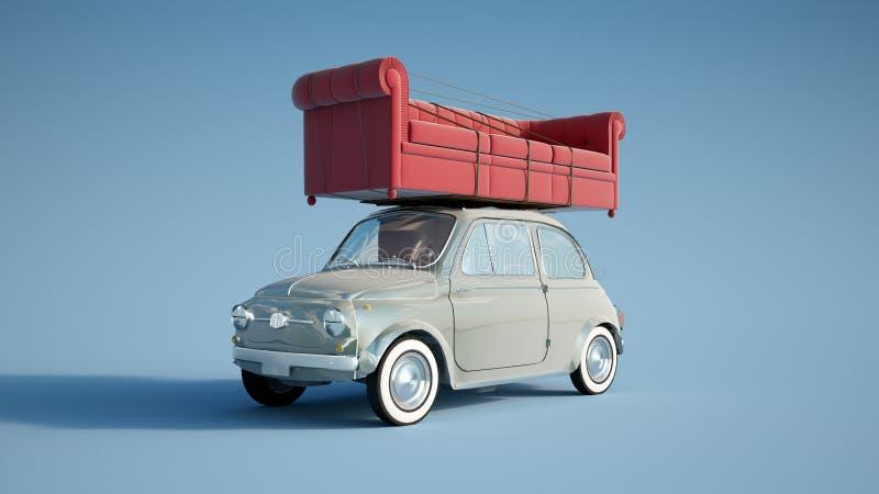 Petite rétro voiture avec le grand sofa illustration libre de droits