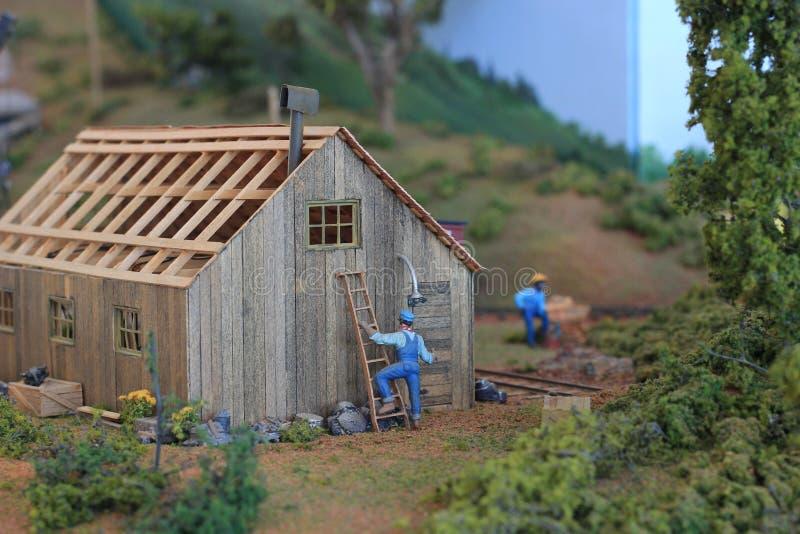Petite reproduction de construction à l'affichage à la grande exposition de train photographie stock libre de droits