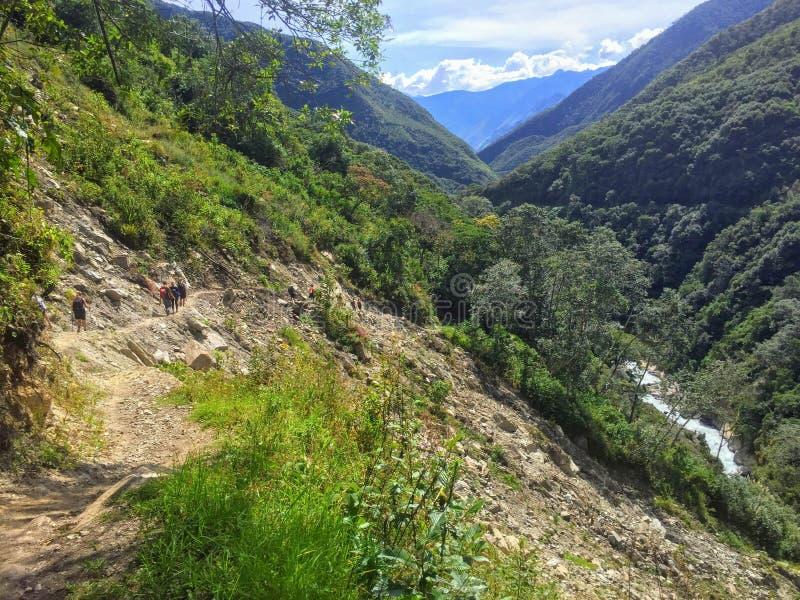 Petite route d'enroulement par les forêts du Pérou sur le chemin au Mac image libre de droits