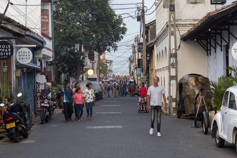 Petite rue dans le fort de Galle, Sri Lanka images libres de droits