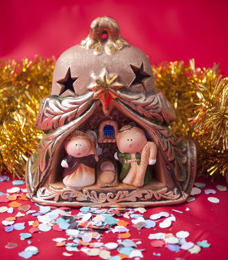 Petite scène de nativité. image stock