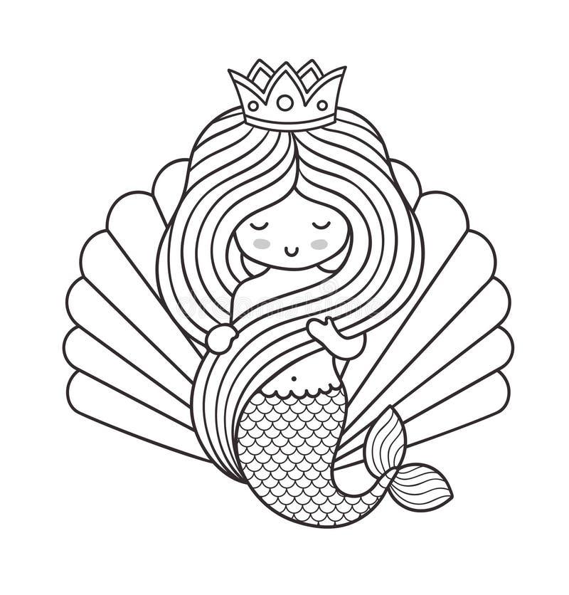 Petite sirène adorable de princesse, tenant ses longs beaux cheveux illustration libre de droits