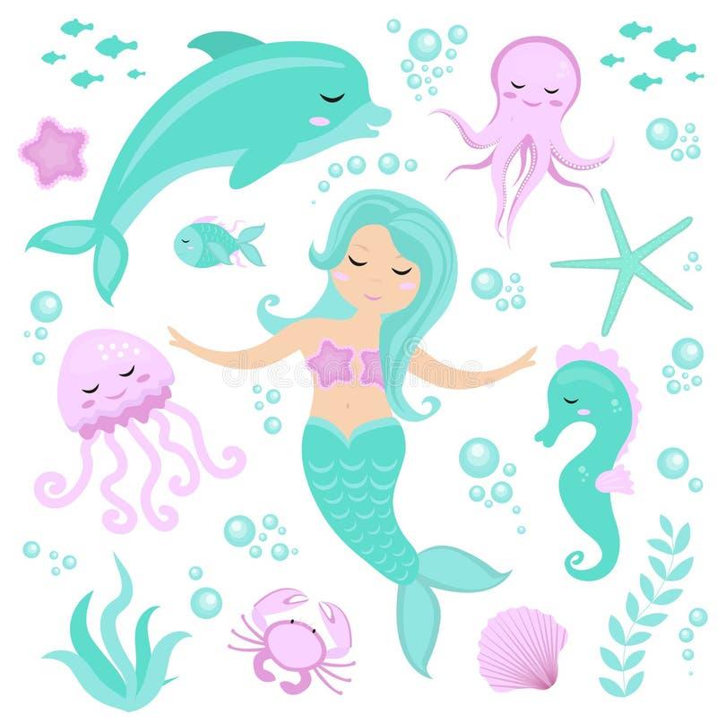 Petite sirène d'ensemble mignon et monde sous-marin Sirène de princesse de conte de fées et dauphin, poulpe, hippocampe, poisson, illustration libre de droits