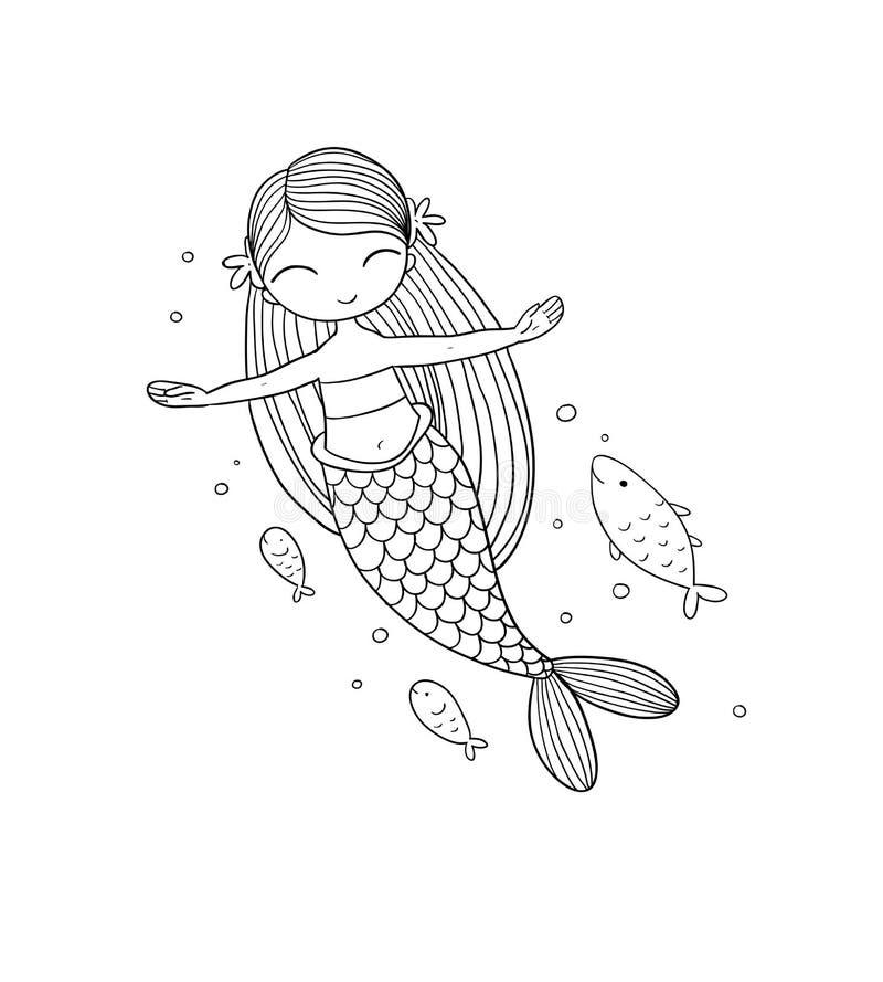 Petite sirène de bande dessinée mignonne Sirène Thème de mer illustration libre de droits