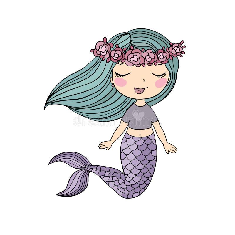 Petite sirène de bande dessinée mignonne Sirène Thème de mer illustration stock