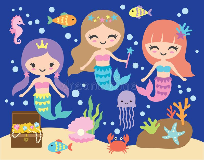 Petite sirène mignonne sous l'illustration de vecteur de mer illustration de vecteur