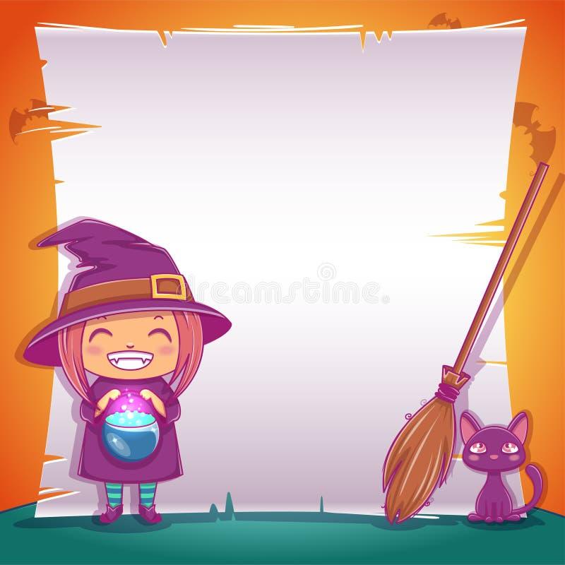 Petite sorcière avec le chaton et le balai noirs Partie heureuse de Halloween Calibre Editable avec l'espace des textes illustration de vecteur