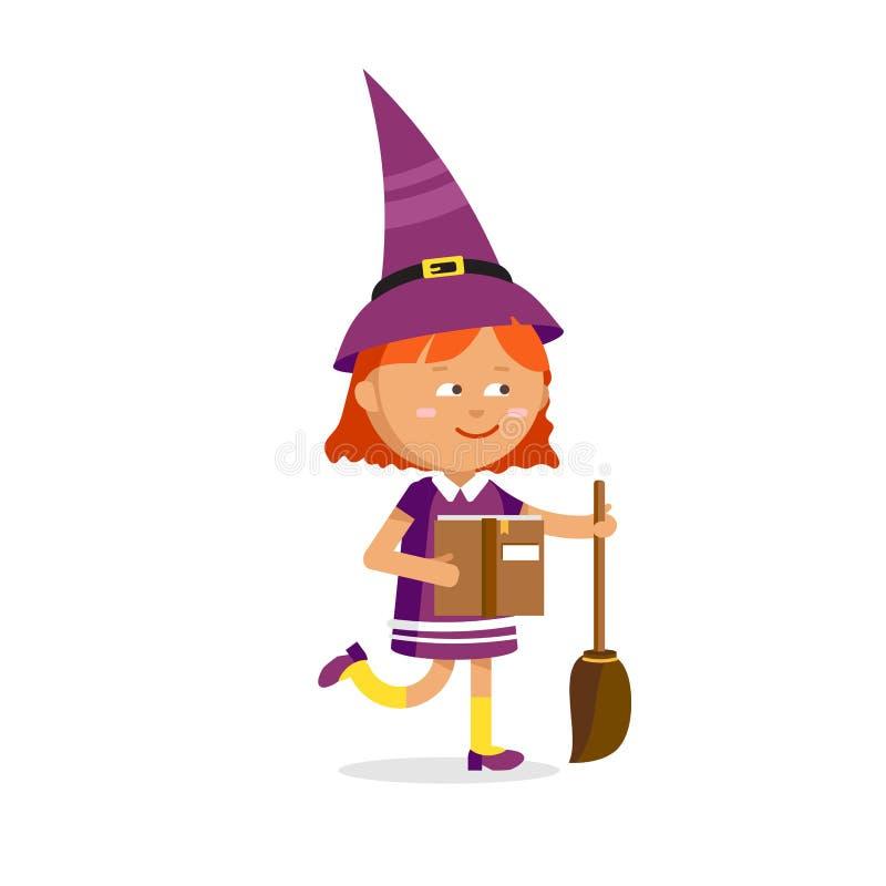 Petite sorcière, fille mignonne de bande dessinée illustration libre de droits