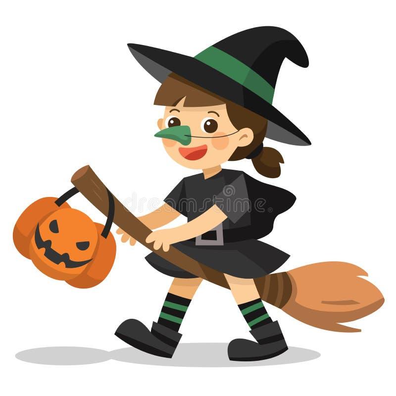 Petite sorcière mignonne avec le panier de potiron pour le tour illustration libre de droits