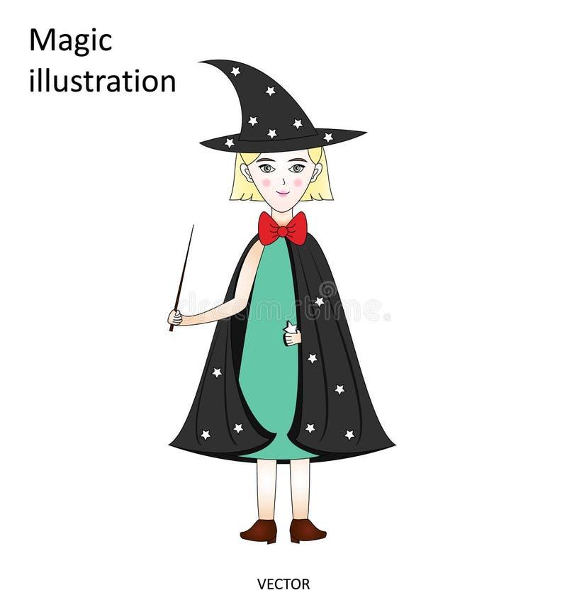 Petite sorcière mignonne avec une baguette magique magique dans un chapeau et un manteau avec des étoiles, illustration magique illustration stock