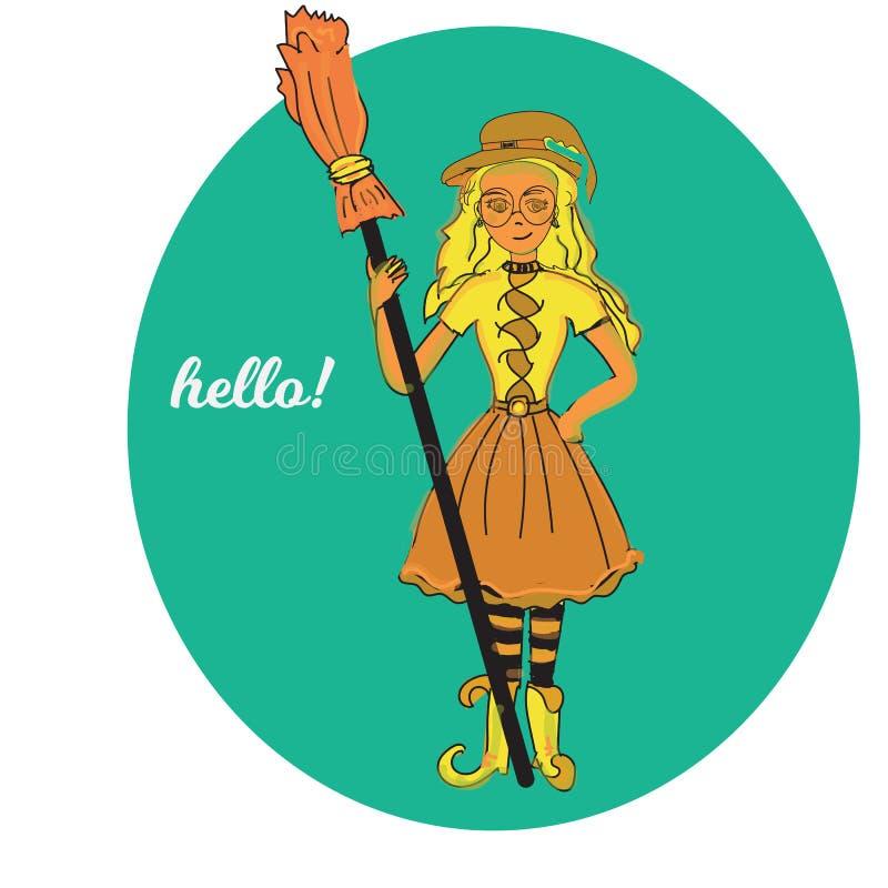 Petite sorcière mignonne, fille magique de Halloween de bande dessinée jeune, chapeau de costume de caractère, illustration illustration libre de droits
