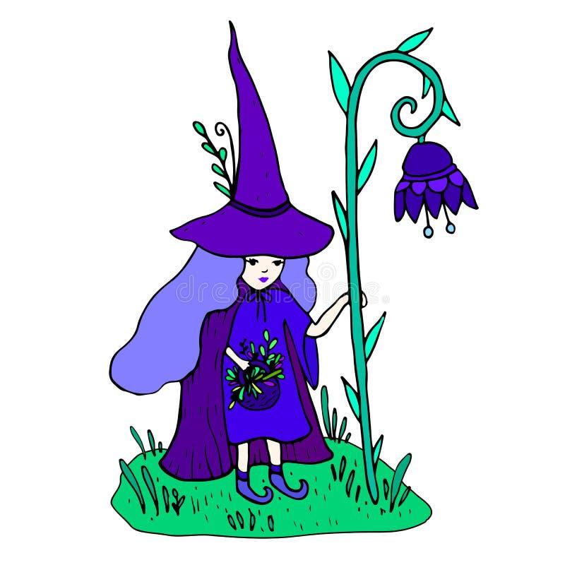 petite sorcière olorful avec un personnel sous forme de fleur illustration de vecteur