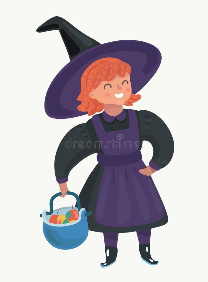 Petite sorcière rousse de fille illustration de vecteur