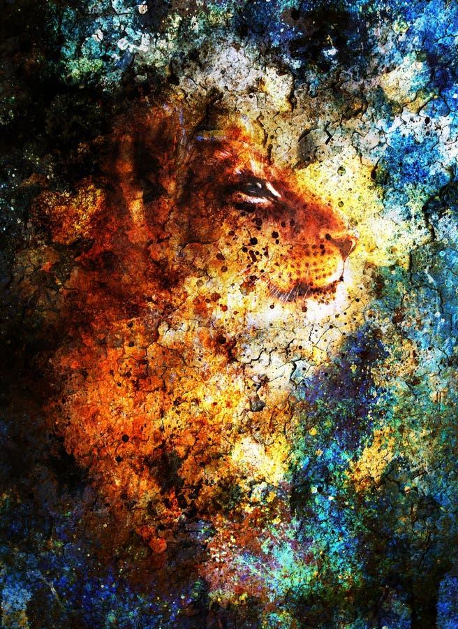 Petite tête de petit animal de lion peinture animale, couleur bleue illustration stock
