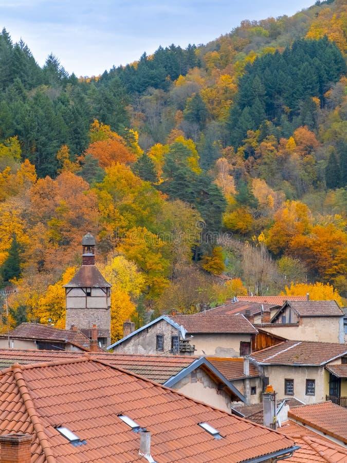 Petite ville dans les montagnes boisées photo libre de droits