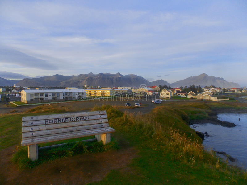 Petite ville Hornafjordudr en Islande du sud photographie stock libre de droits