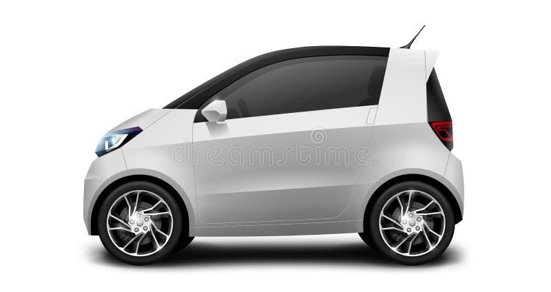 Petite voiture compacte générique blanche sur le fond blanc illustration de vecteur