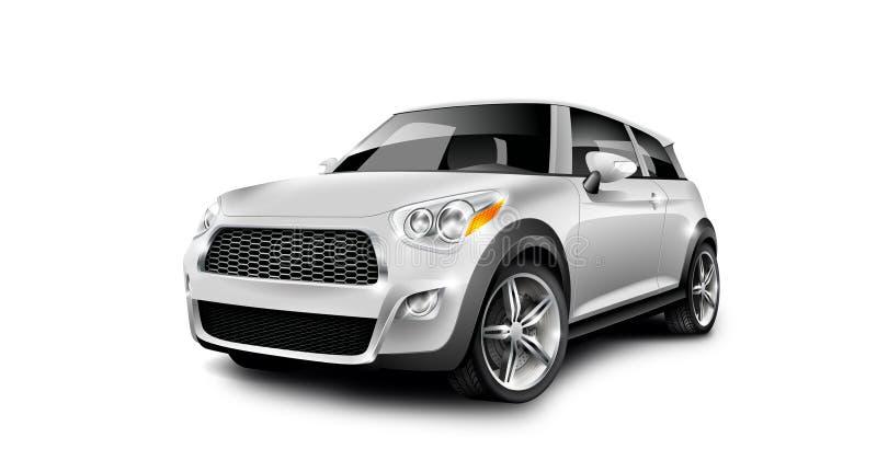 Petite voiture compacte générique métallique blanche sur le fond blanc avec le chemin d'isolement illustration stock