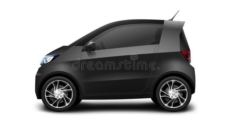 Petite voiture compacte générique noire sur le fond blanc illustration stock