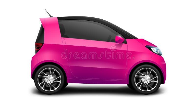 Petite voiture compacte générique pourpre sur le fond blanc illustration stock