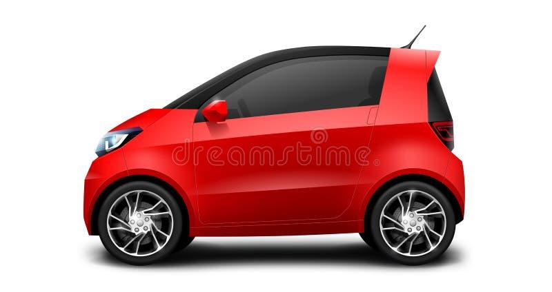 Petite voiture compacte générique rouge sur le fond blanc illustration libre de droits
