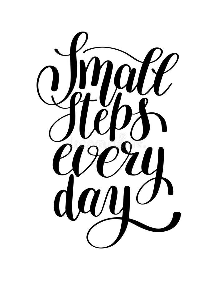 Petites étapes chaque citation inspirée positive manuscrite de jour illustration de vecteur