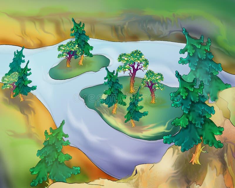 Petites îles sur une rivière illustration de vecteur