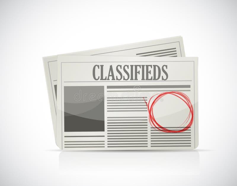 Petites annonces, journal, concept d'affaires. illustration stock
