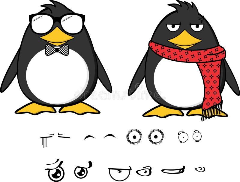 Petites expressions set1 de bande dessinée de bébé de pingouin de hippie illustration stock
