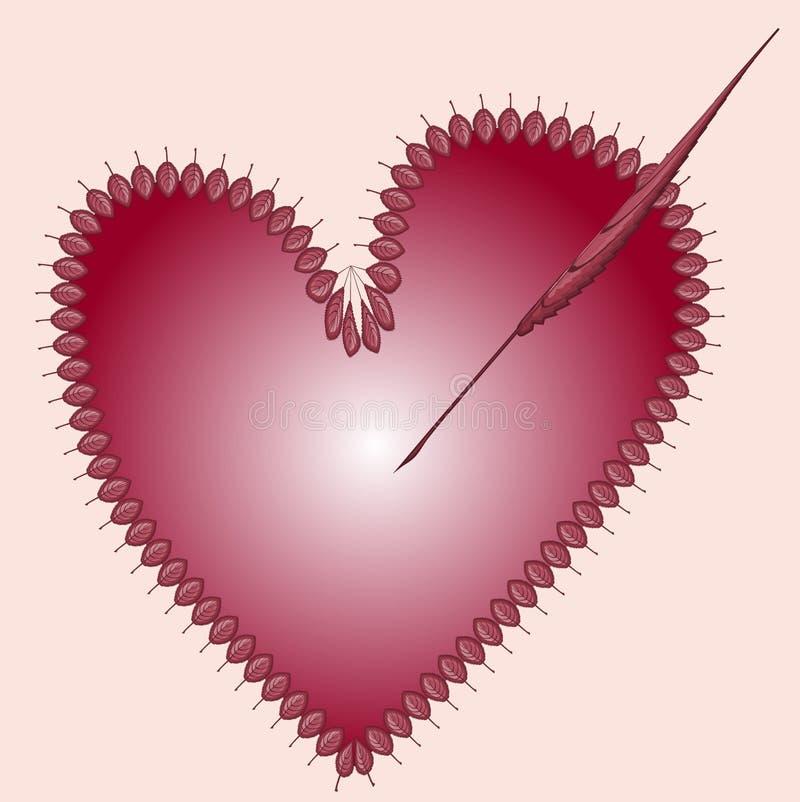 Petites feuilles rouges sous forme de cadre sous forme de coeur percé par une flèche d'une grande feuille L'illustration sur illustration libre de droits
