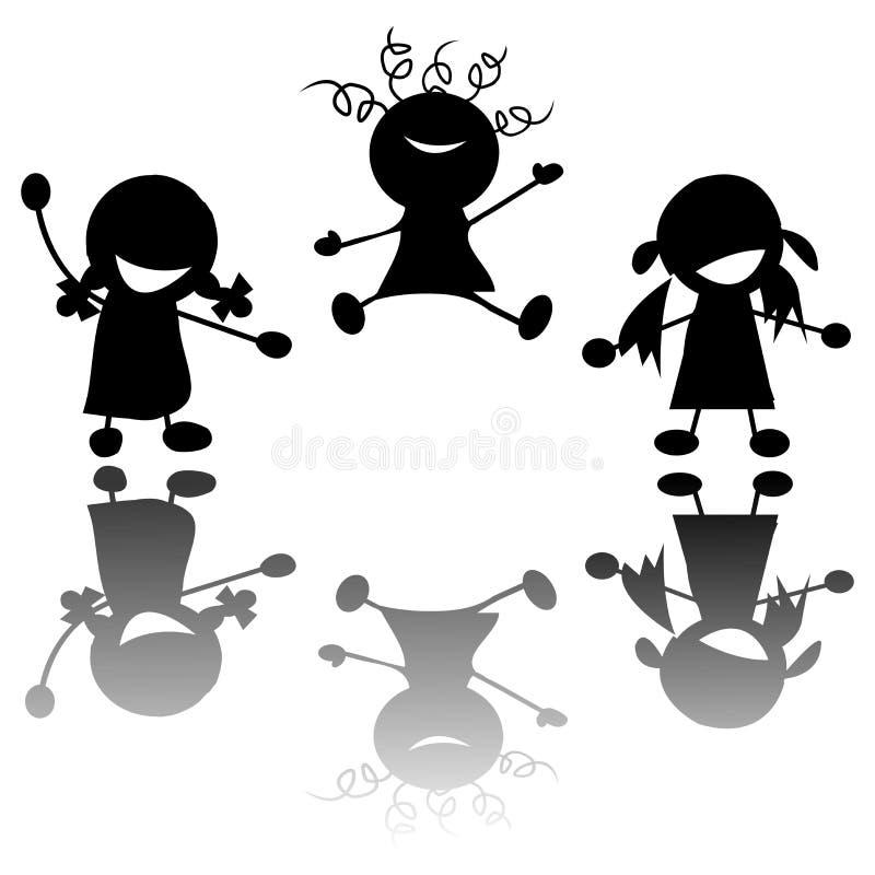 Petites filles heureuses illustration libre de droits