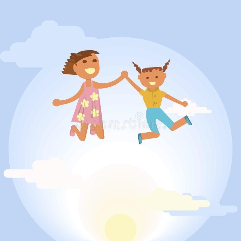 Petites filles heureuses illustration de vecteur