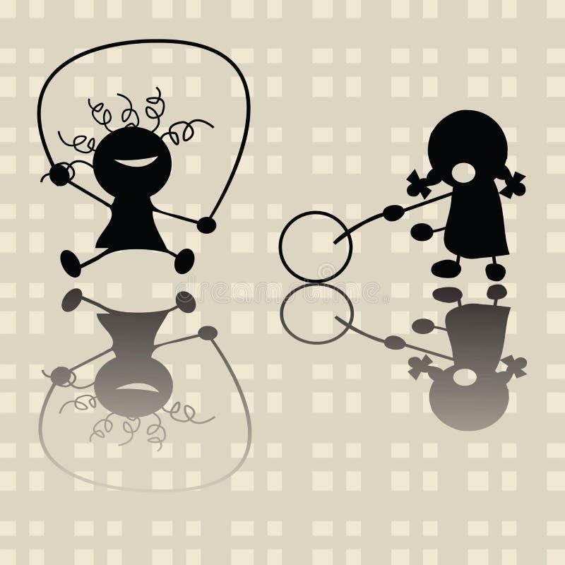 Petites filles jouant des jeux illustration stock