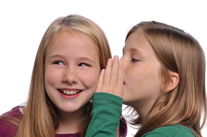 Petites filles partageant un secret photos libres de droits