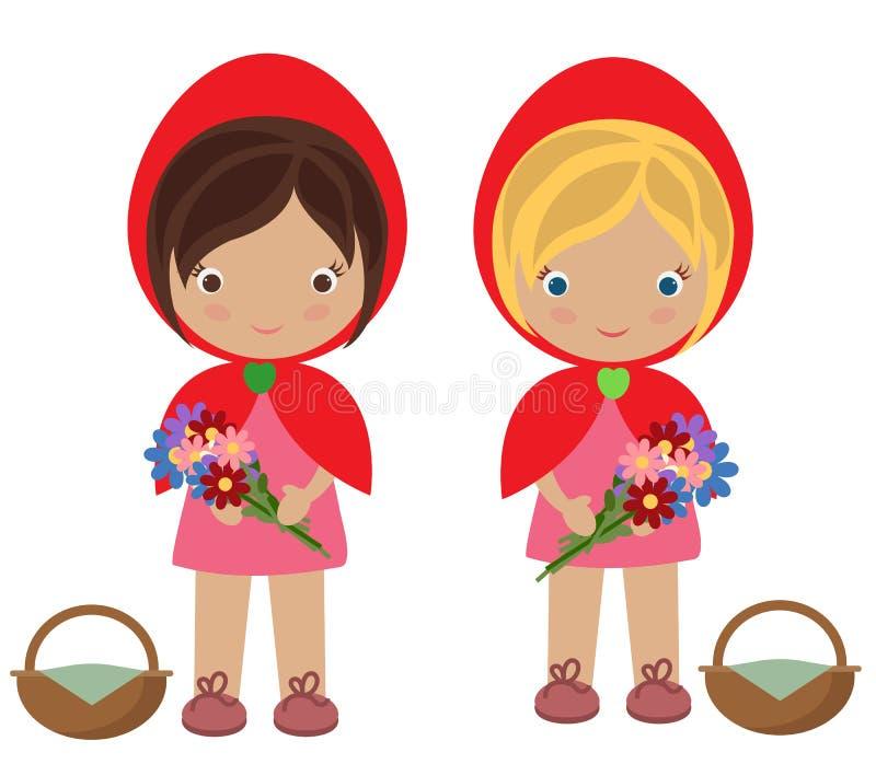 Petites filles rouges mignonnes de capot photographie stock