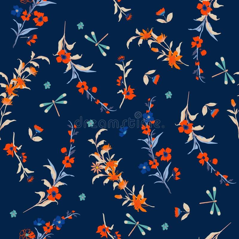 Petites fleurs de modèle de liberté sans couture sensible de vecteur floral illustration libre de droits