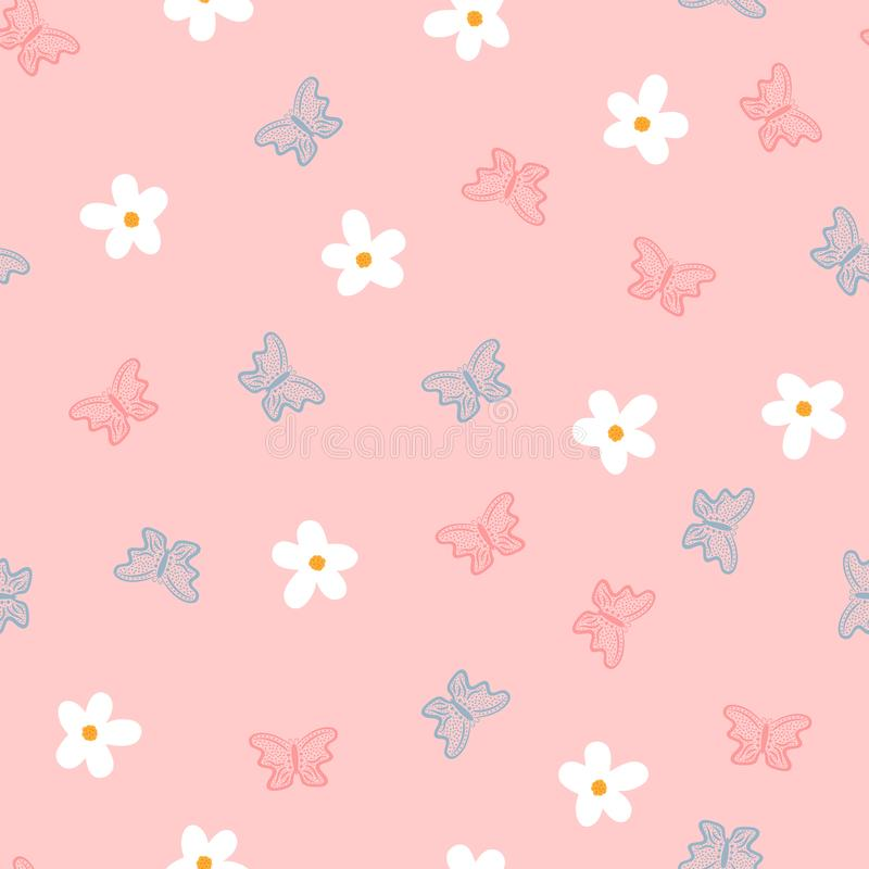 Petites fleurs et papillons dessinés à la main Modèle sans couture mignon pour des enfants illustration de vecteur
