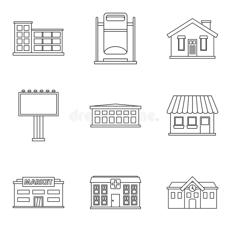 Petites icônes de bâtiment réglées, style d'ensemble illustration stock
