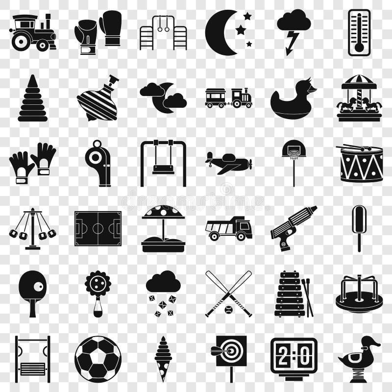Petites icônes de terrain de jeu réglées, style simple illustration stock