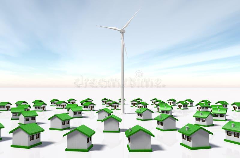 Petites maisons regardées un générateur de vent illustration stock
