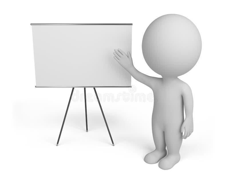 petites personnes 3d avec le panneau vide illustration de vecteur