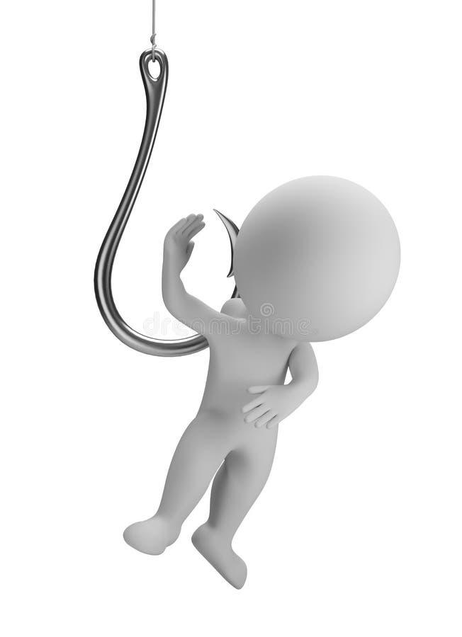 petites personnes 3d sur le crochet illustration libre de droits