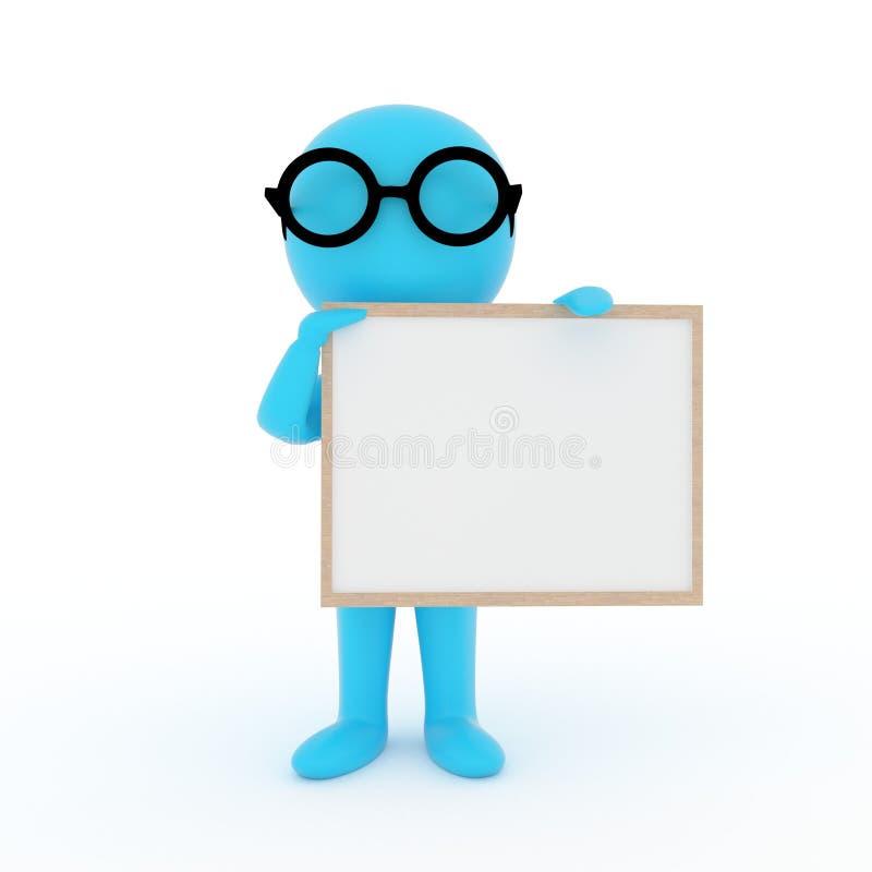 Petites personnes bleues avec la photo de cadre sur le fond blanc d'isolement dans le rendu 3D illustration de vecteur