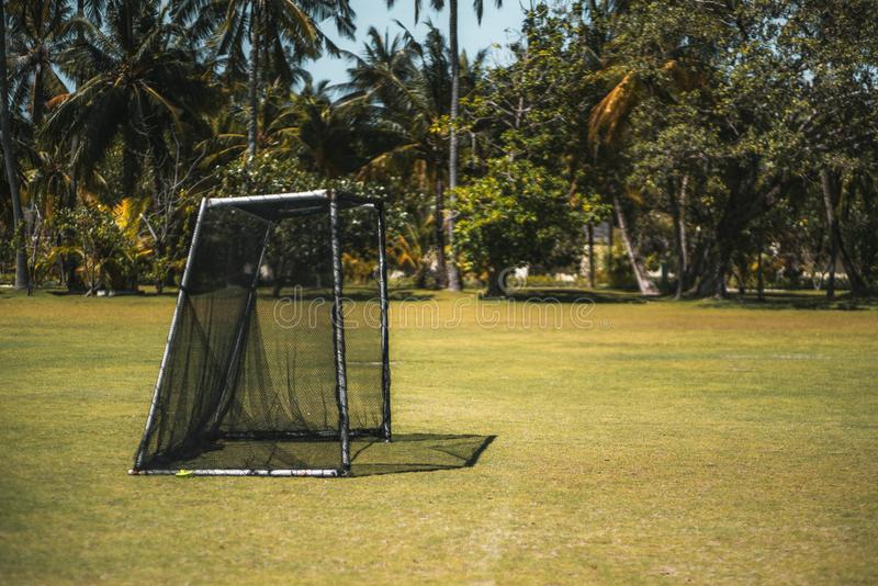 Petites portes du football ou du football et le champ photographie stock libre de droits