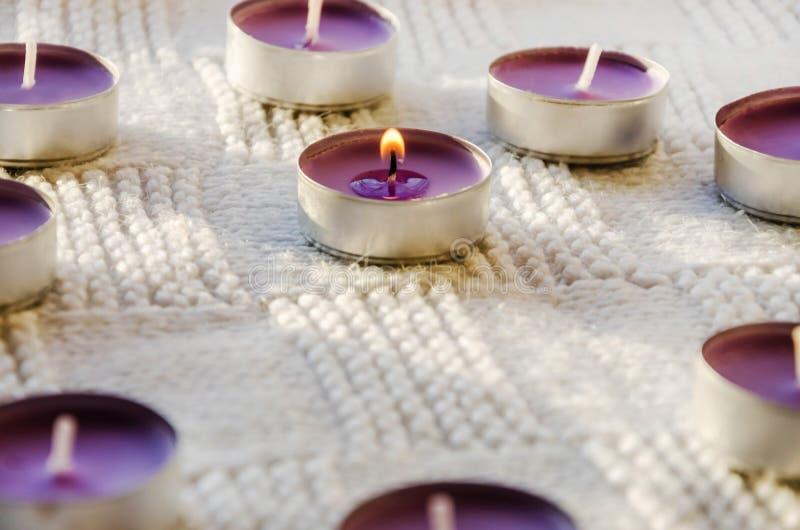 Petites, pourpres, aromatiques bougies sur un fond blanc image stock