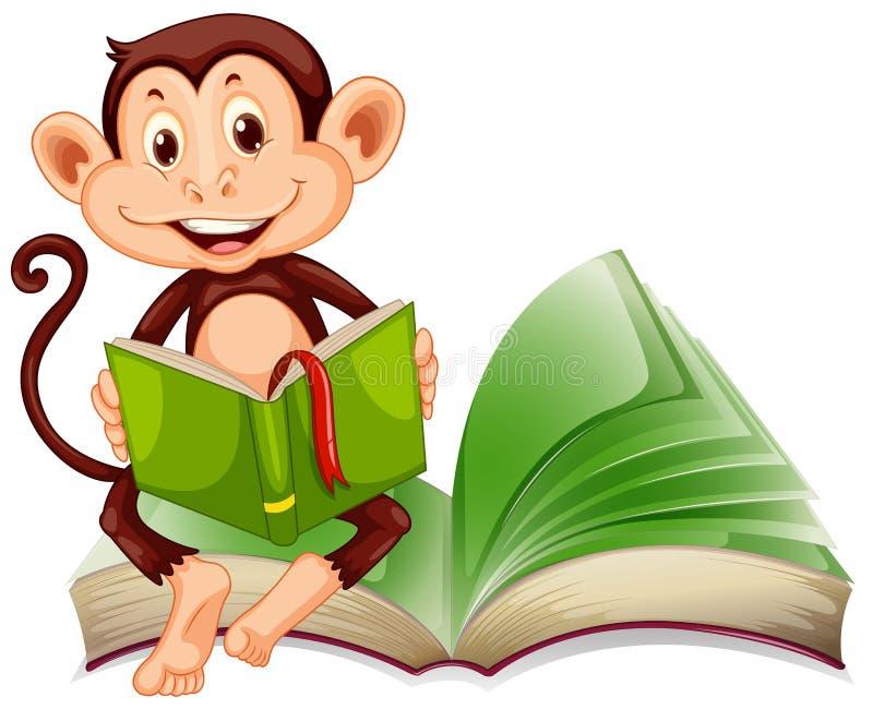Petites séance et lecture de singe un livre illustration libre de droits