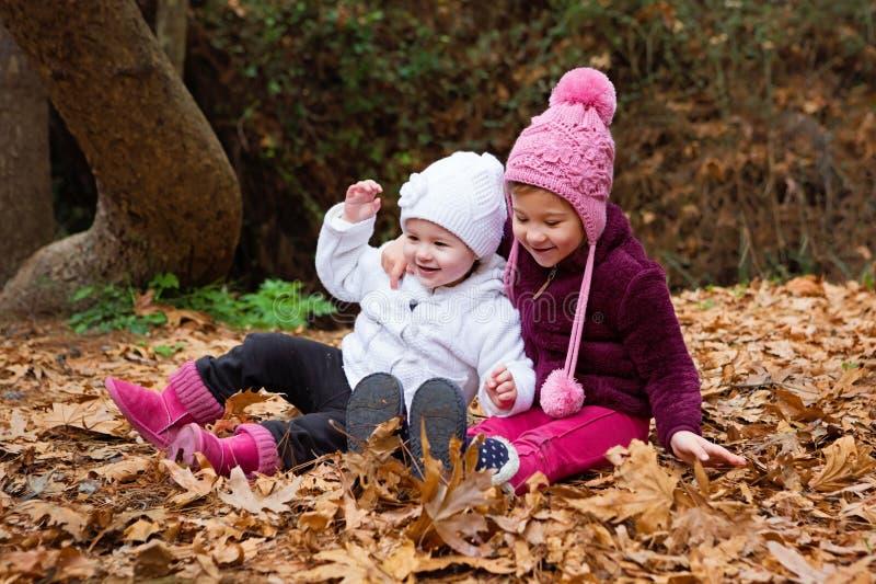 Petites soeurs jouant dans les feuilles photographie stock libre de droits
